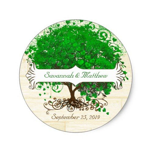 Emerald Swirl Heart Leaf Tree Wedding Seal