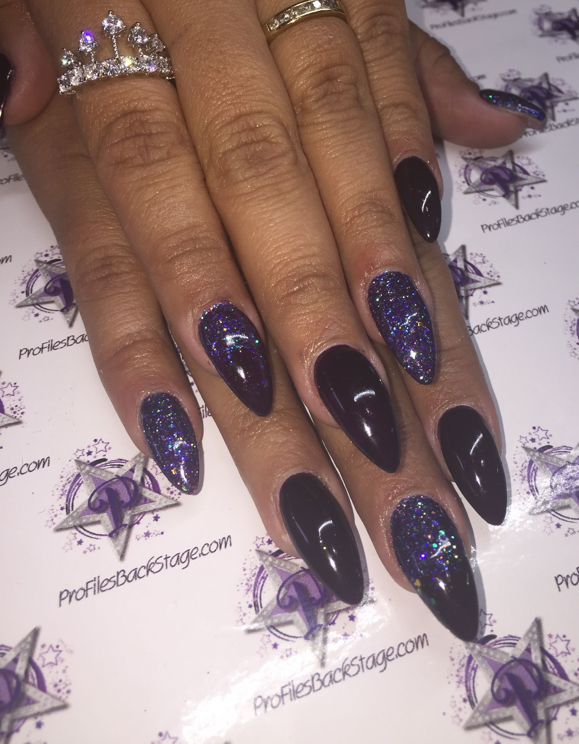 Exclusive nail couture gel polish on acrylic. Dark purple with grape ...
