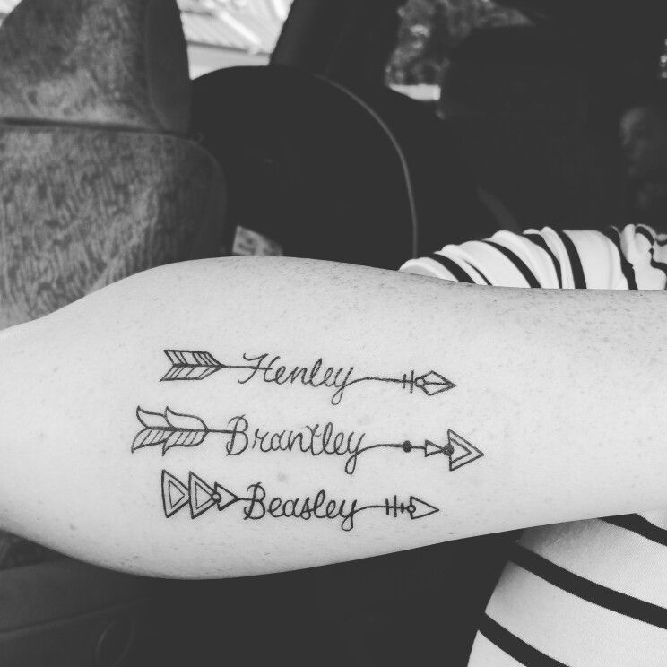 Arrow Tattoo With Children's Name