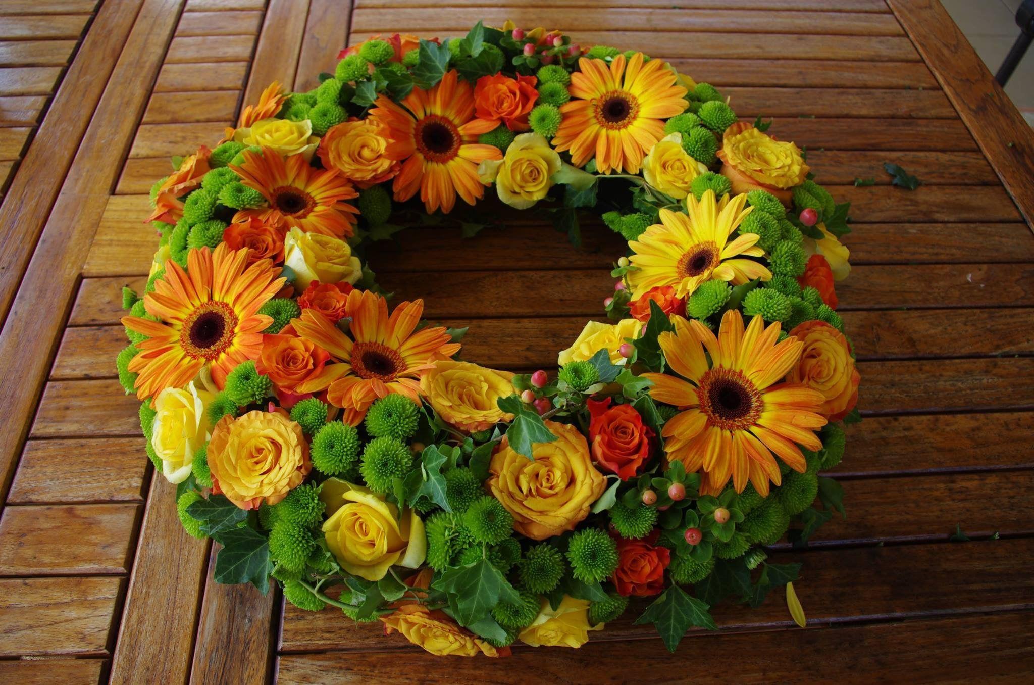 Sympathy Design Open Wreath In Orangeyellow With Gerbera Roses