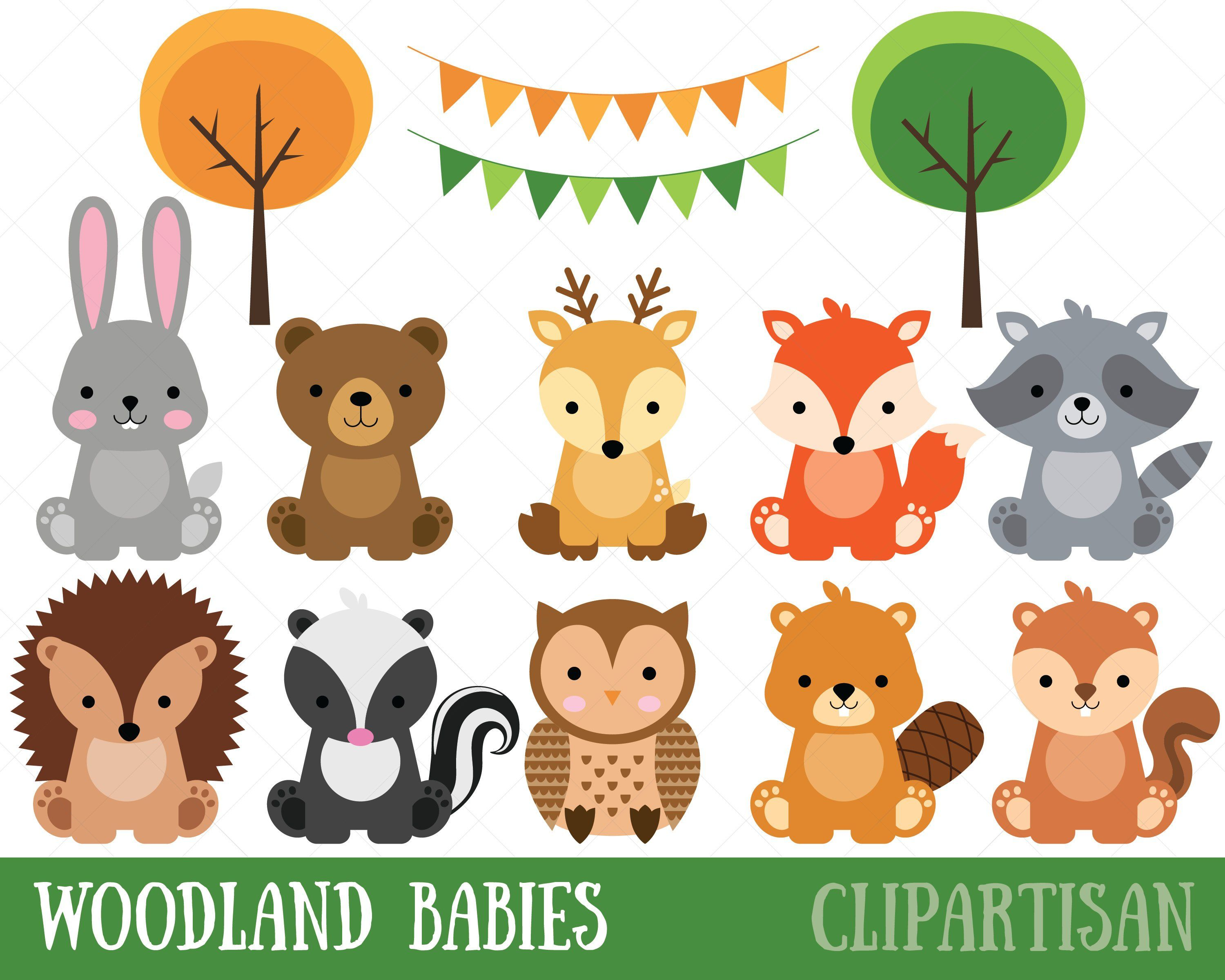 Woodland Baby Animals Clipart Forest Animal Clipart Etsy Baby Animal Invitations Animal Clipart Woodland Baby