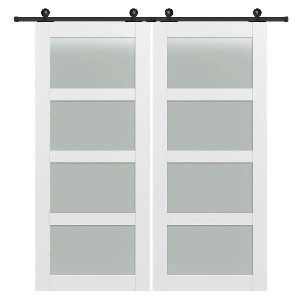 Mmi Door 72 In X 84 In 4 Lite Frosted Glass Primed Mdf Double Sliding Barn Door With Hardware Kit Z0364975 The Home Depot Double Sliding Barn Doors French Doors Interior French Doors