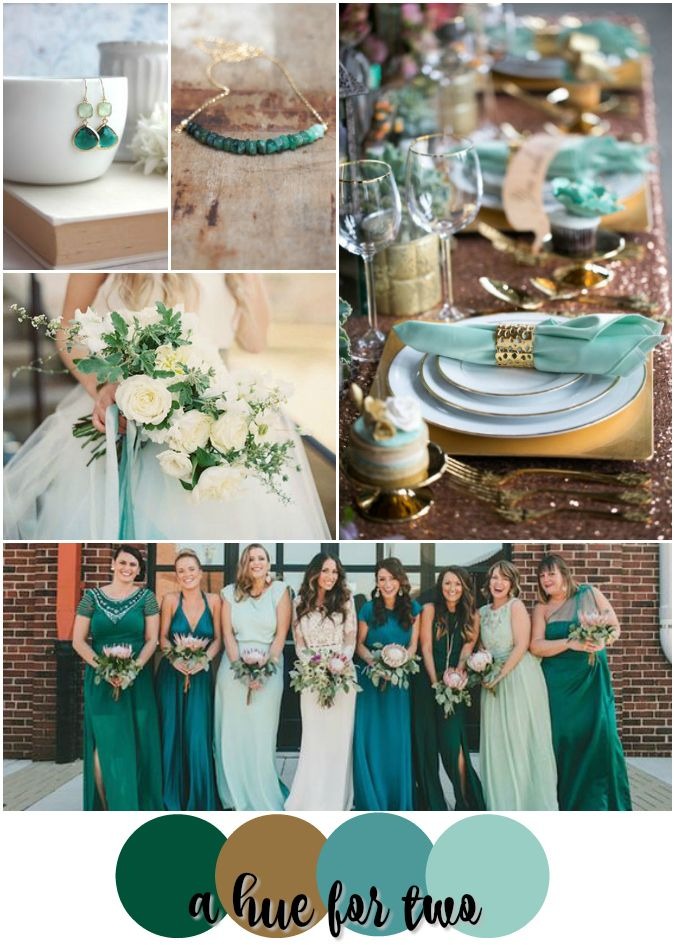 emerald teal mint and gold wedding color scheme