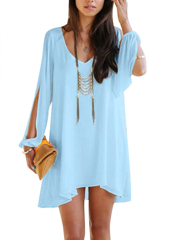 Viwenni Sexy Womens V-Neck Loose Irregular Hem Summer Chiffon Short Beach Dress #navyblueshortdress