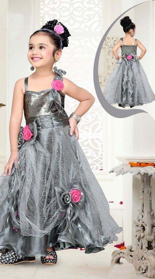 Dazzling Floral Rose Work Silver Net Kids Girl Designer ...