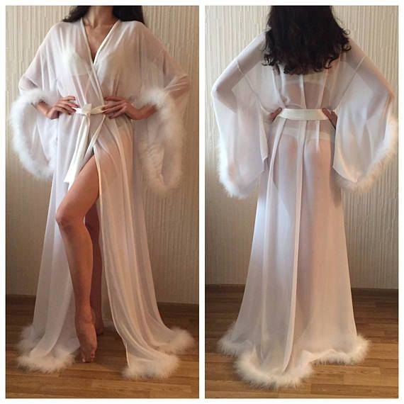 Marabou Long Silk Robe  White Bridal Robe  Silk Bridal Robe  Lace ... 8cbe55da9