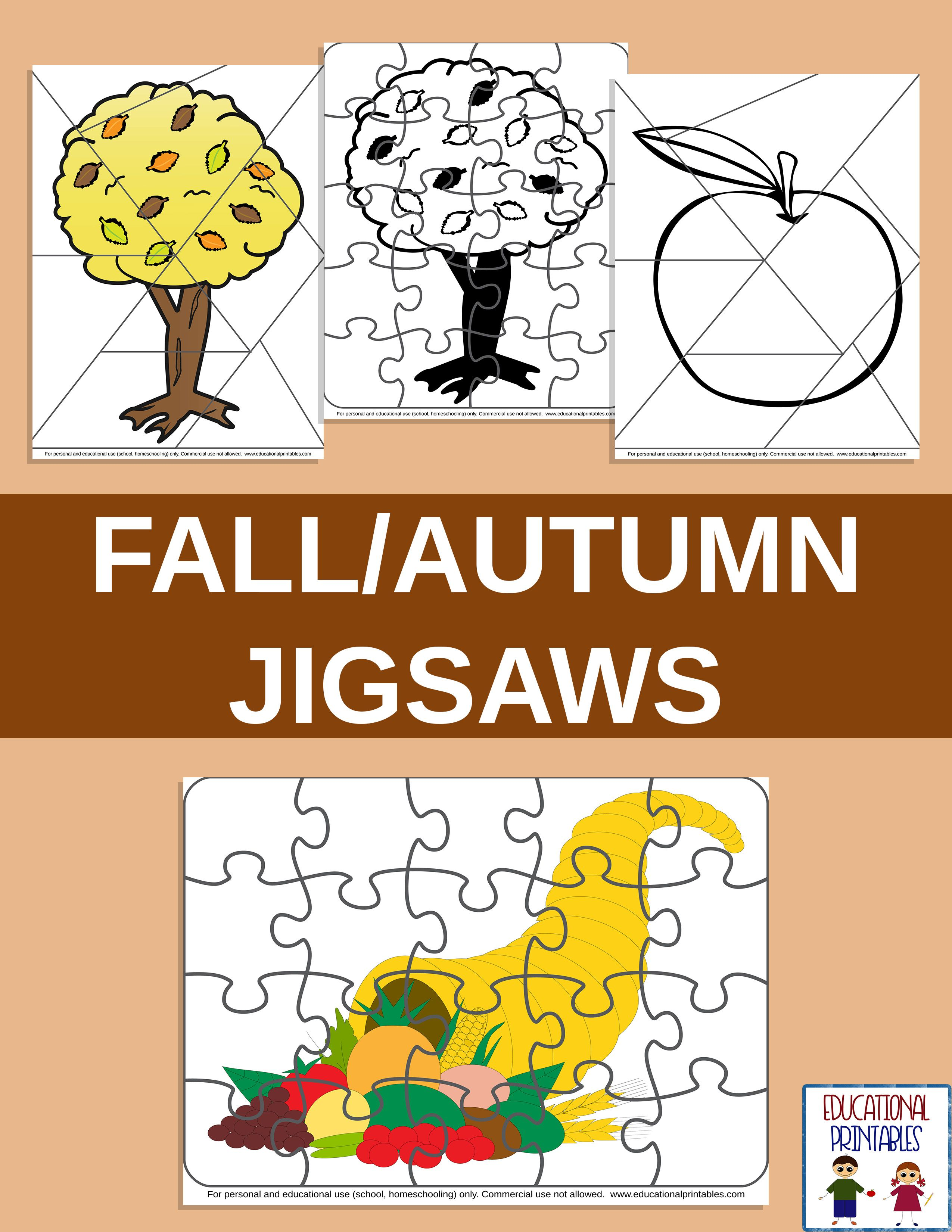 Fall Autumn Jigsaws From Janet S Educational Printables