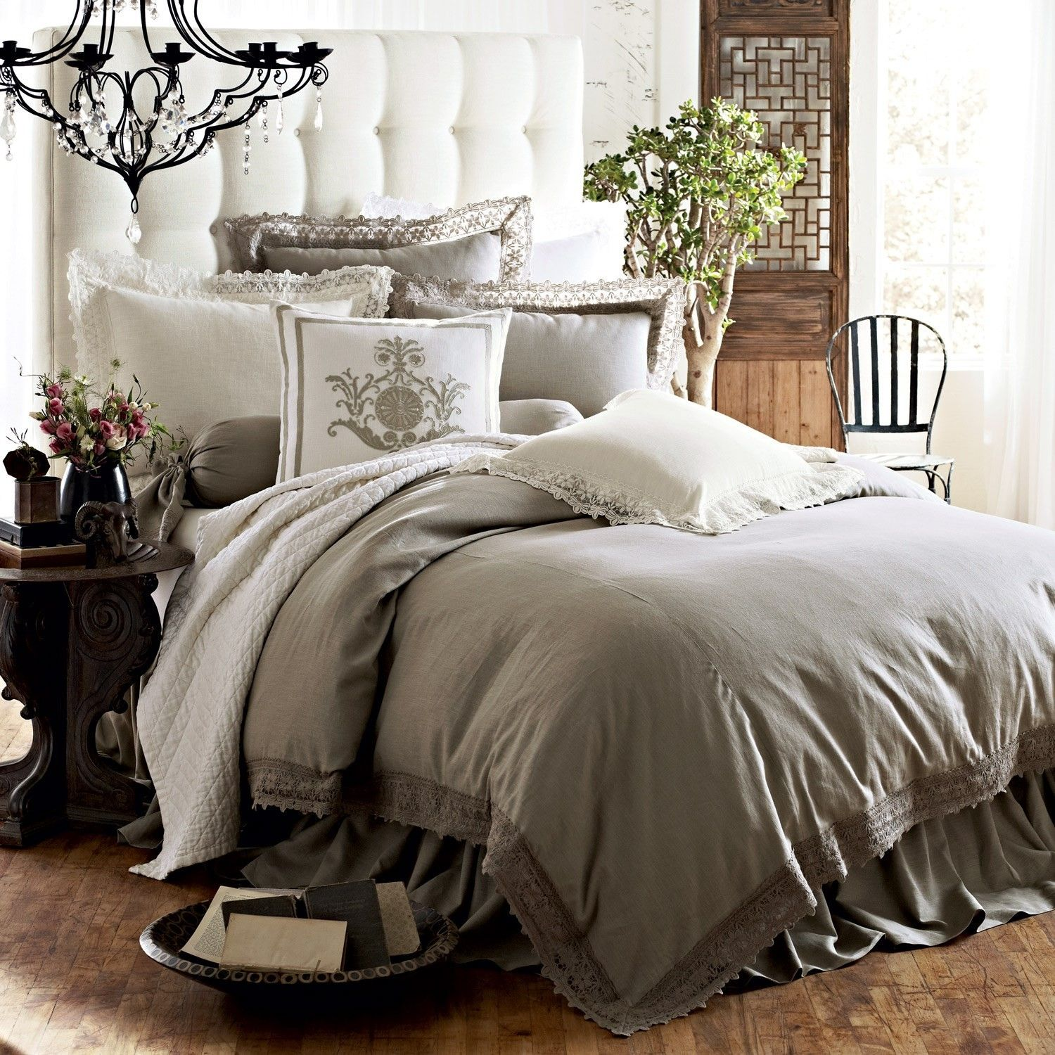 The Theresa Bedding Set Features A Lovely Flax Linen With Lace Accented Fabric This