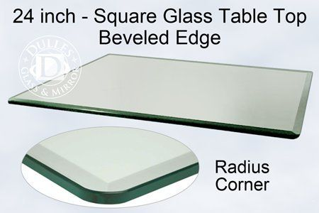 TroySys Square 12 Inch Thick Bevel Polished Annealed Glass Table Top Radius  Corner 24 L *