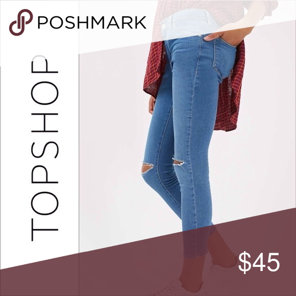 SOLD! Topshop Mid Blue Ripped Slits Leigh Jeans