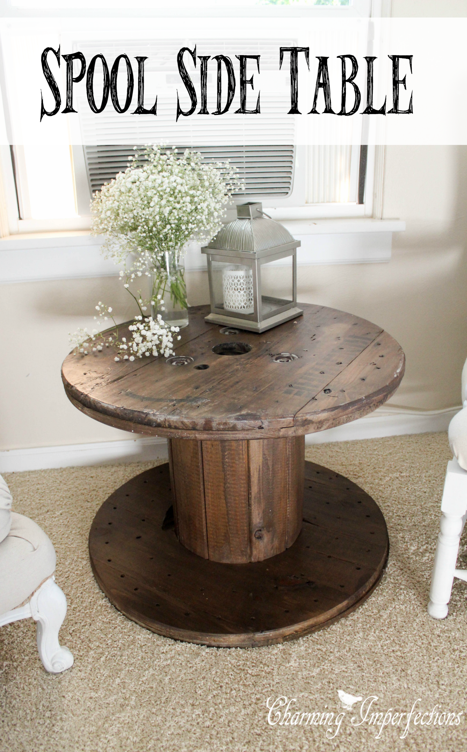 This side table is the perfect farmhouse touch with an even more