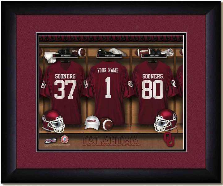Oklahoma Sooners Football Personalized Locker Room Poster, Framed personalized jersey locker room poster