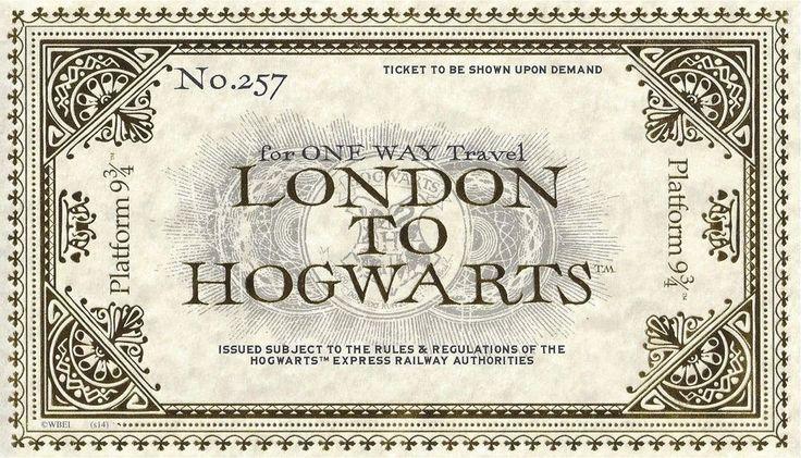 Harry Potter Hogwarts Express Train Ticket Hogwarts Express Ticket Hogwarts Harry Potter Platform