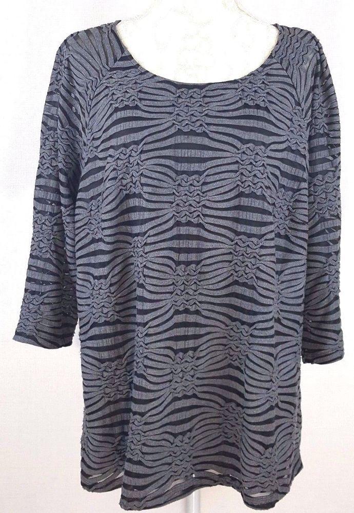2c63aad49d2 Dressbarn Womens Plus Size 2X Gray Black Striped Design Semi Sheer Stretch  Top  Dressbarn  KnitTop  Any