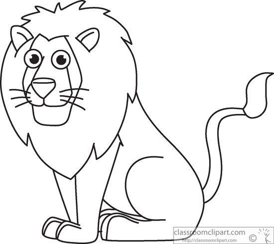 Animals Lion Sitting Cartoon Clipart Black White Outline 914 Cartoon Clip Art Animals Black And White Animal Outline