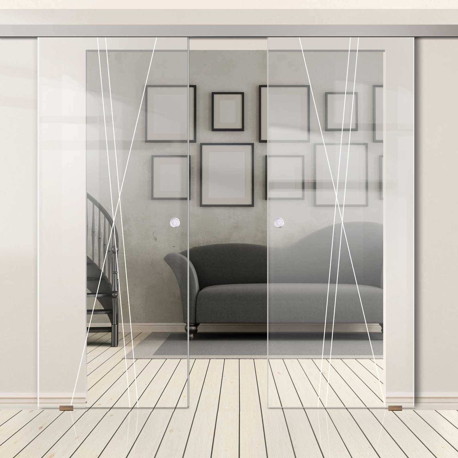 Double Glass Sliding Door Borthwick 8mm Clear Glass Obscure