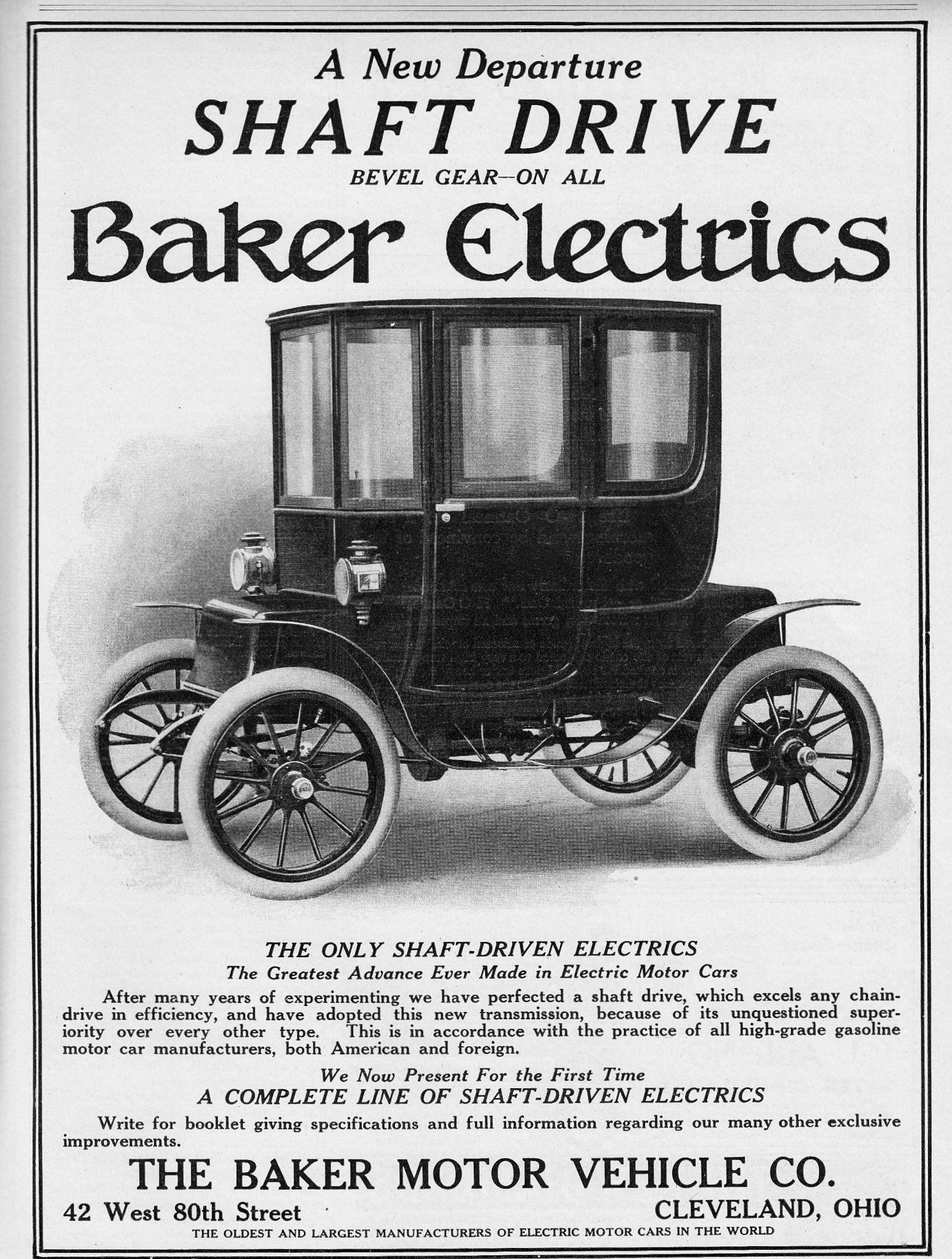 1909 Baker Electrics  The Baker Motor Vehicle Co