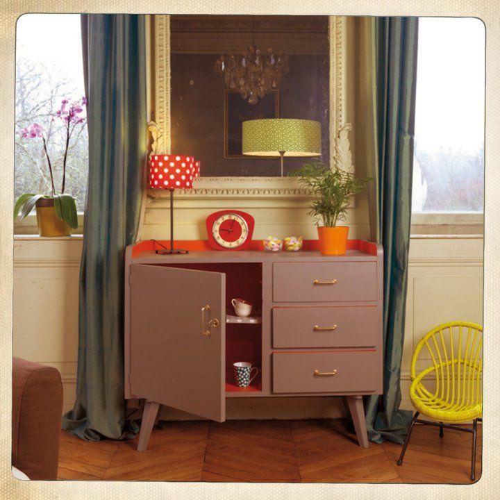 Meuble taupe ann e 50 mobilier de salon meuble vintage Meuble salon taupe