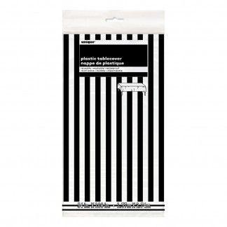Charmant 1 X Black And White Striped Plastic Tablecloth.Rectangular Shape. Measures  137cm X 274cm.This Stylish Black And White Tablecloth Is Ideal For  Corporate ...