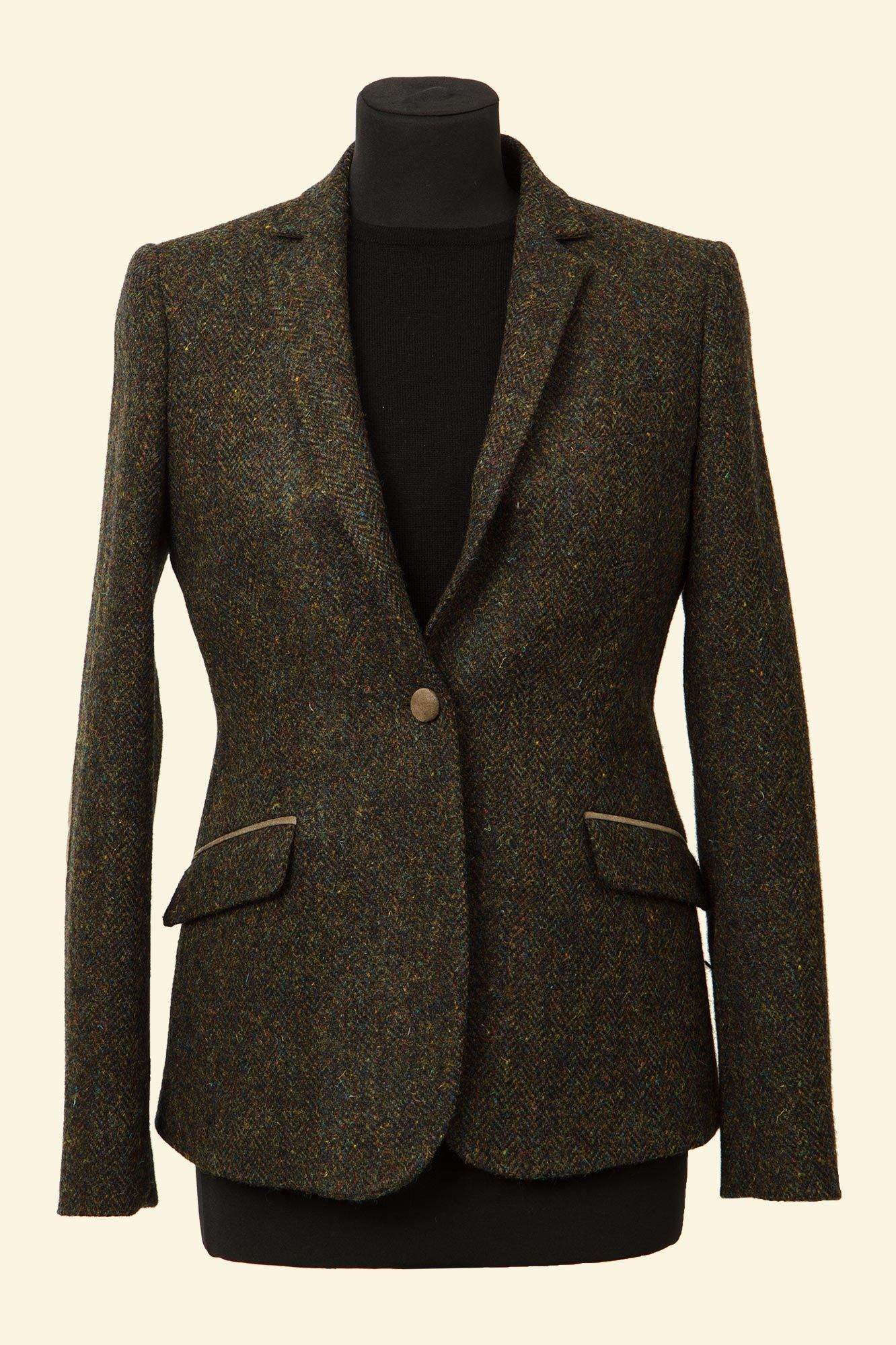 79a04343c Green Herringbone Harris Tweed Iona Jacket - Tweed Jackets ...
