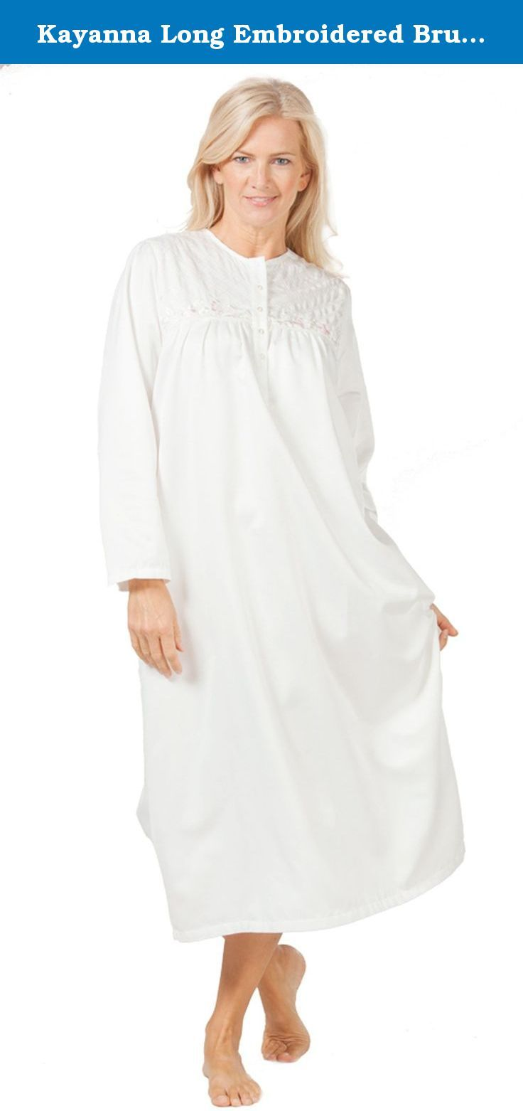 Kayanna Long Embroidered Brushed Satin Nightgown in Ivory (Small (6-8) e67ce0541
