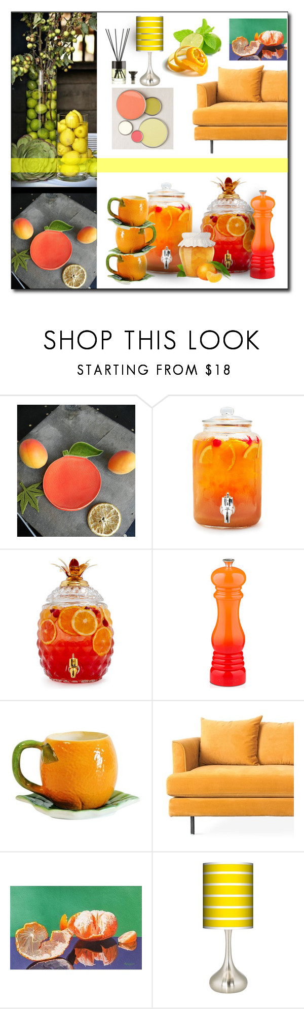 """""""citrus home"""" by art-gives-me-life ❤ liked on Polyvore featuring interior, interiors, interior design, home, home decor, interior decorating, Sur La Table, Le Creuset, Gus* Modern and NOVICA"""