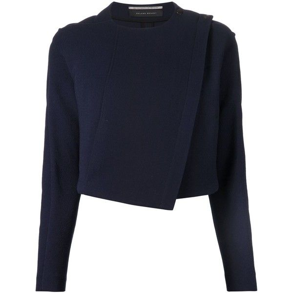 Roland Mouret 'Lancaster' jacket (7.850 NOK) ❤ liked on Polyvore featuring outerwear, jackets, blue, blue jackets, wool jacket, roland mouret and blue wool jacket
