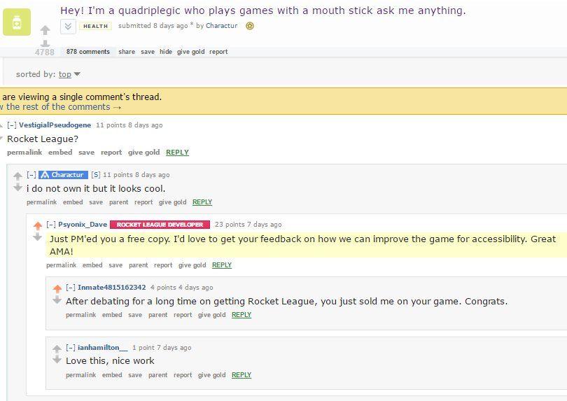 Rocket League Devs = Best Devs! Psyonix_Dave sends quadriplegic gamer a copy and asks for accessibility feedback (x-post /r/RocketLeague)