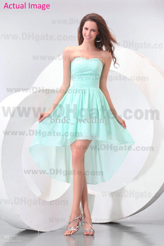 2013 Beach Mint Green Bridesmaid Dresses Chiffon Hi Lo High Low ...