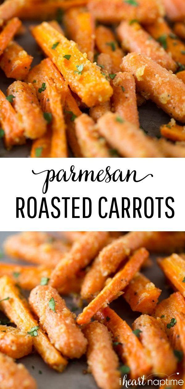 EASY Parmesan Garlic Roasted Carrots - I Heart Naptime -