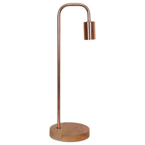 Lampe à poser en métal finition cuivré et socle en bois (H.49cm) Lampada