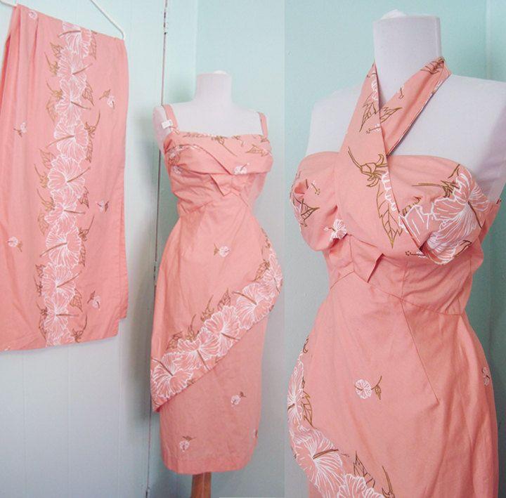 50\'s Deadstock Pink 2pc Sarong Set Hawaiian - Criss Cross halter ...