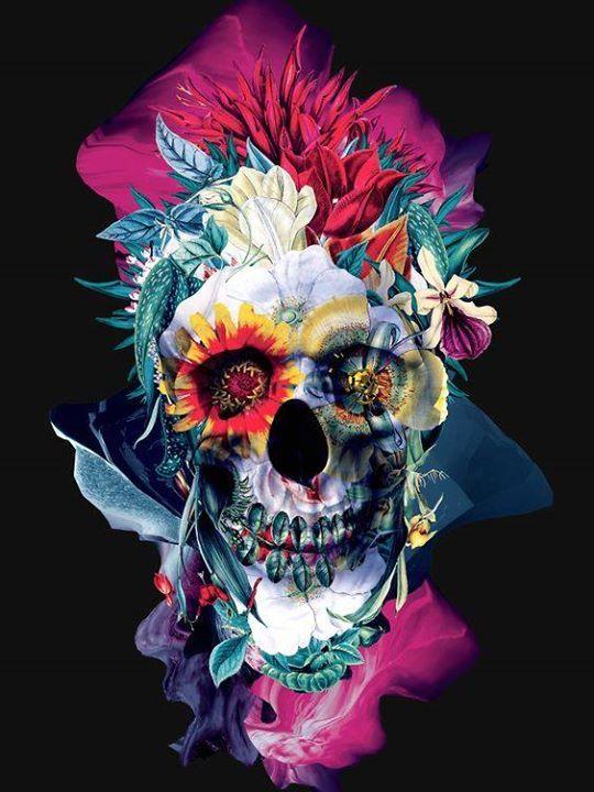 январе череп из цветов постер используем световой прибор