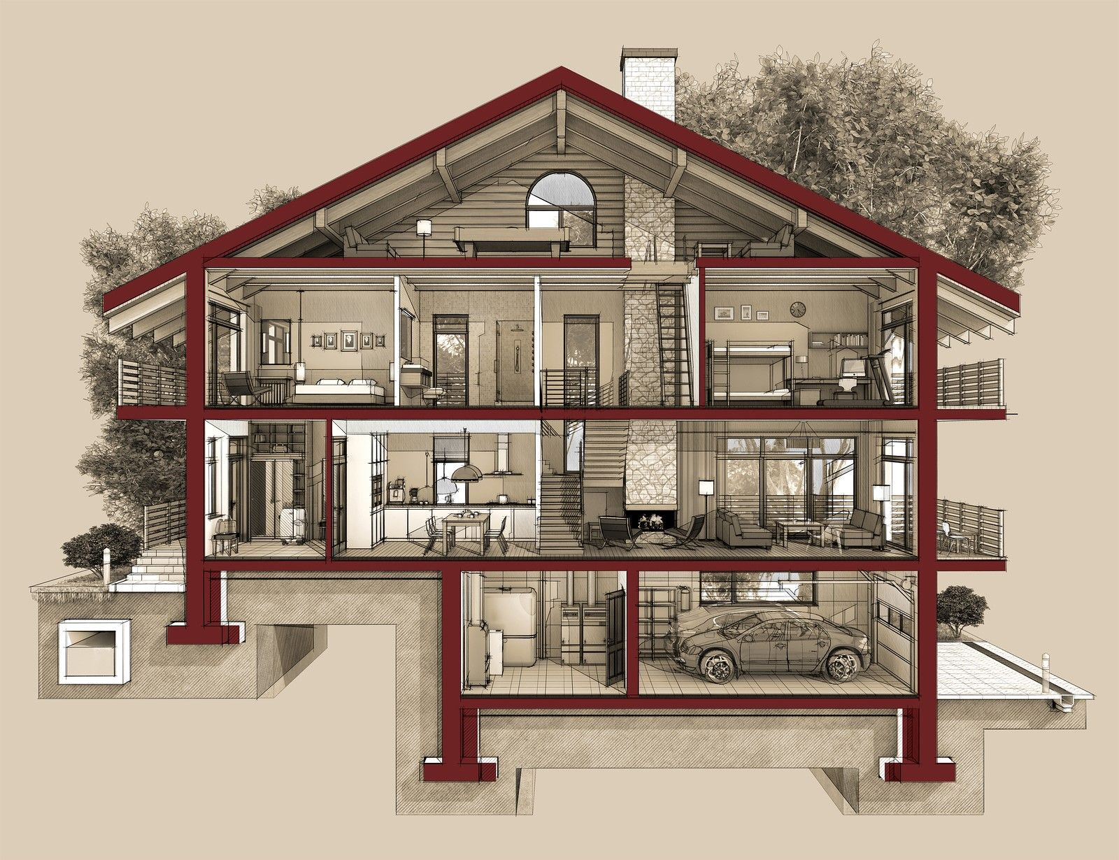 Protect The Underground Garage House Garage House Plans Simple House Plans