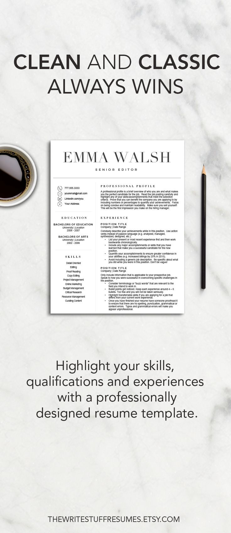 Classic Resume Template For Word Cv Template 1 2 Page Resume