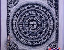 Elephant Mandala Tapestries, Hippie Tapestries, Indian Tapestry, Dorm Tapestry, Wall Tapestries, Bohemian Tapestries Tapestry Wall Hanging