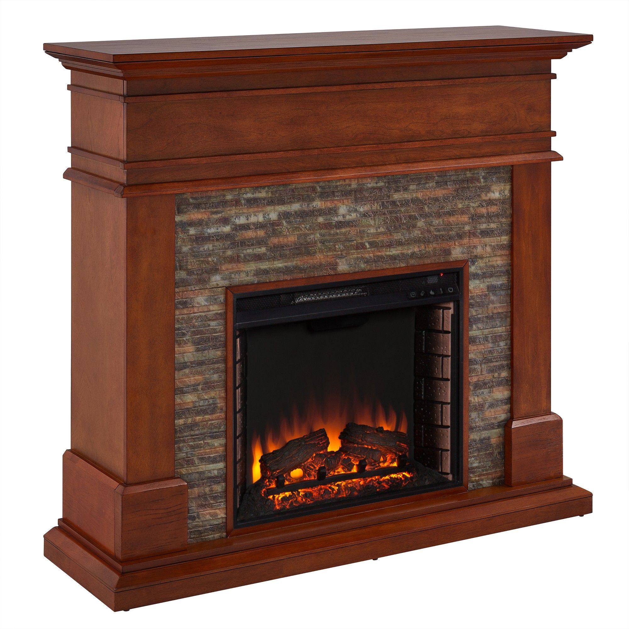 Accent Wall Faux Stone Vaulted Tv Gas Fireplace: Henton Faux Stone Fireplace Brown - Aiden Lane