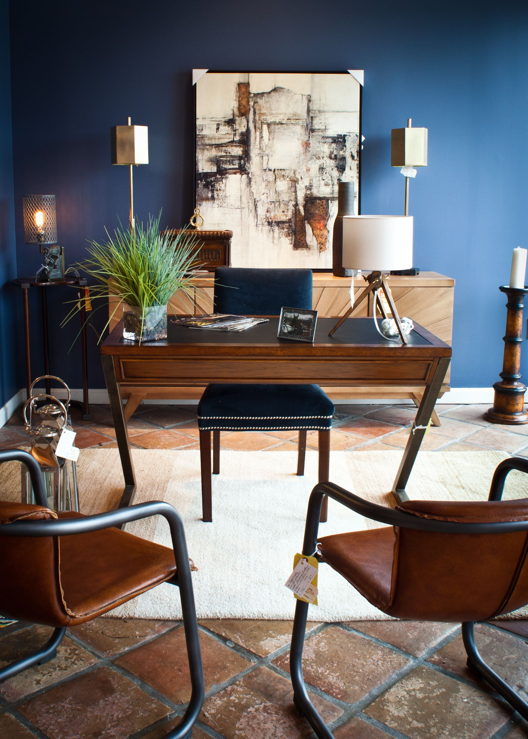 Modern Home Office With Blue Accent Wall At Hoffman Albers Interior Design Showroom In Blue Ash Cincinnati Ohio Modern Home Office Home Blue Accent Walls