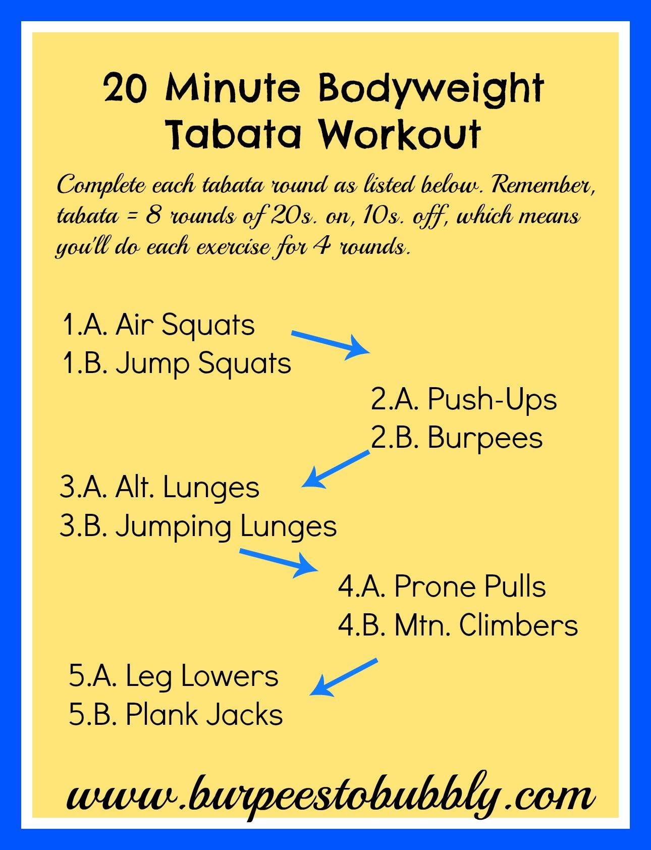 20 Minute At Home Cardio Workout Wednesday Workout 20 Minute Bodyweight Tabata Workout