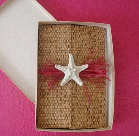 Boxed Beach Invitation with Starfish by CoutureBeachInvites...love it...especially with a touch of hot pink!