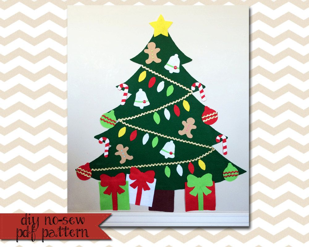 Large Wall Hanging Felt ChristmasTree Ornaments Kit  Kids Decorate Your Own DIY