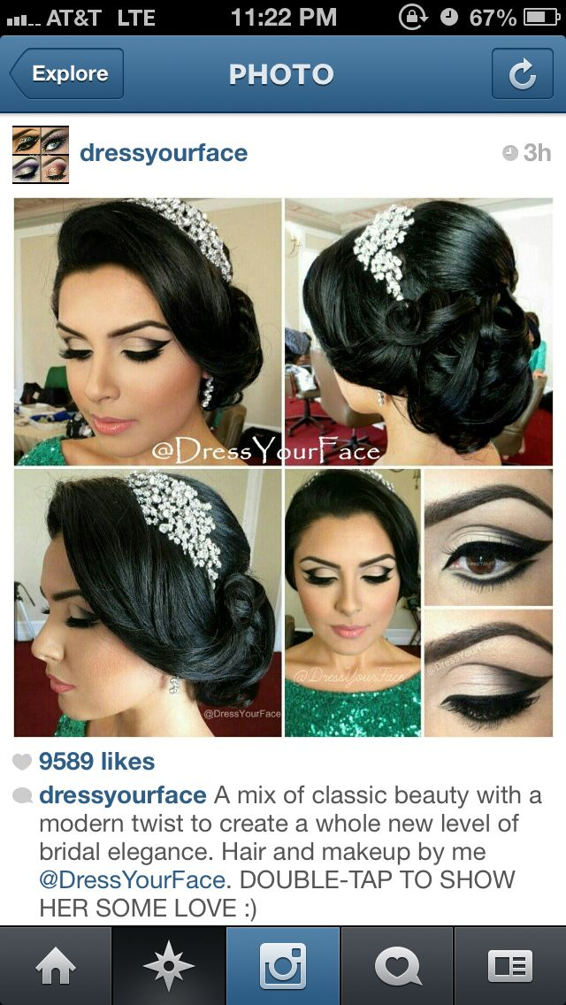 indian wedding hairstyle gallery%0A Vintage elegant bridal wedding hair updo and make up