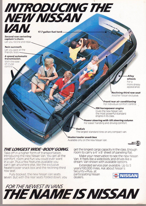 Nissan Van Advertisement Vintage Magazine Ad In 2020 Nissan Vans Car Ads Nissan