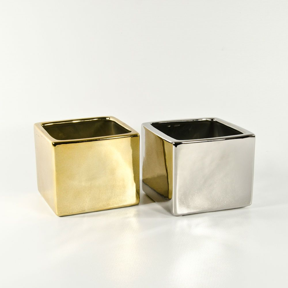 Gold and silver small ceramic cubes for discount