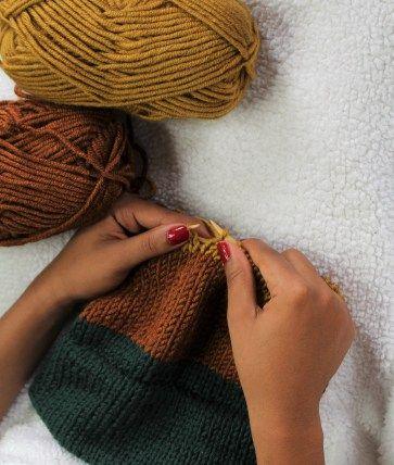 feb45df69dc How to Knit Double Brim Beanie Beginner Knitting