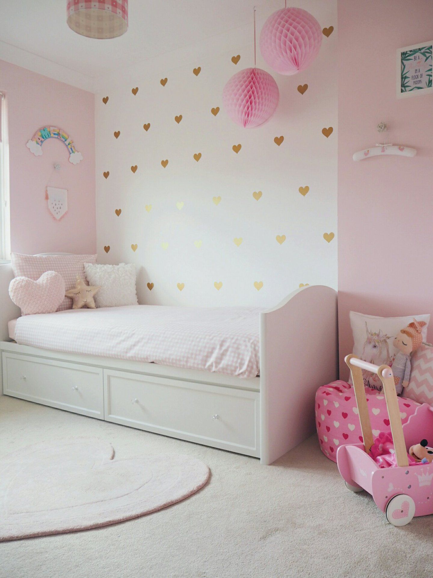 Best Amelie S Soft Pink And Gold Toddler Bedroom Girls 400 x 300