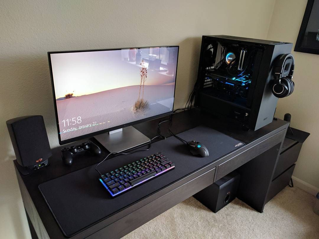 pin by top best gaming desks on gaming gaming desk setup gaming room setup computer desk setup. Black Bedroom Furniture Sets. Home Design Ideas