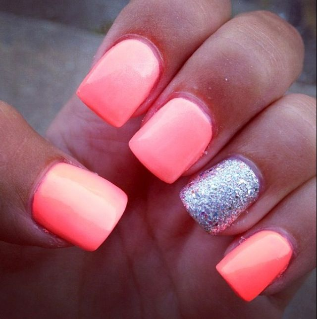 Nails, Glitter Accent Nails