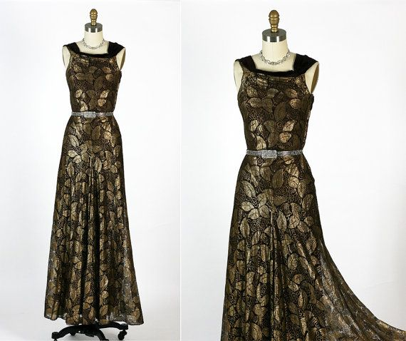 1930s 30s Antique Vintage Art Deco Lame Cocktail Party Dress