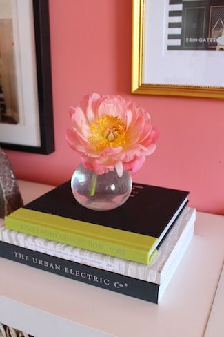 Benjamin Moore\'s All-A-Blaze + gold frames + pink flowers in bus ...